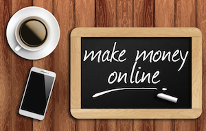 make money online written on a slate