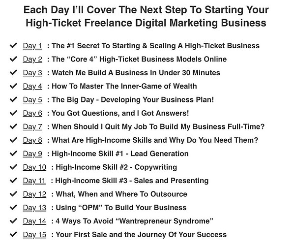 15 day online business builder by Legendary Marketer Lessons list