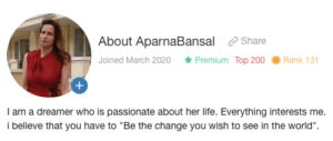 aparna Wealthy affiliate profile