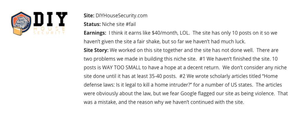 Failed Niche Website income school project 24