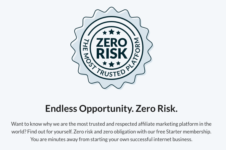 Wealthy Affiliate website information about zero risk
