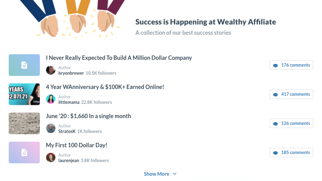 Wealthy Affiliate Dashboard - SUCCESS