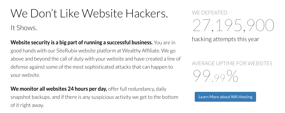 Wealthy Affiliate website platform anti hacking