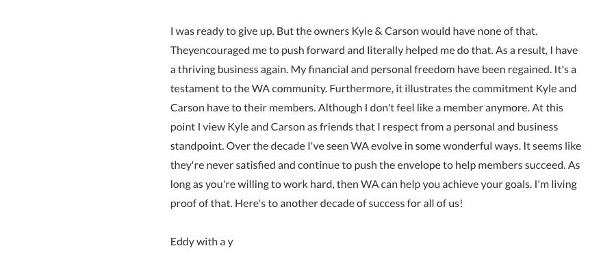 Wealthy Affiliate Testimonials Eddy