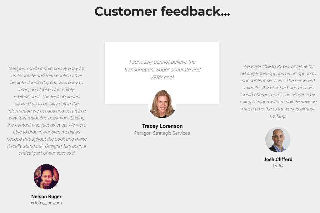 Designrr customer testimonials