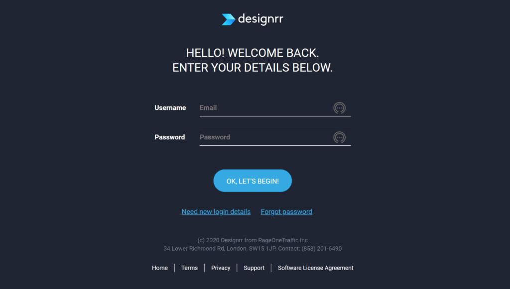 Designrr Sign in page