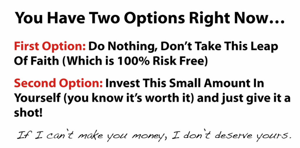Options - take it or leave it 1k a day