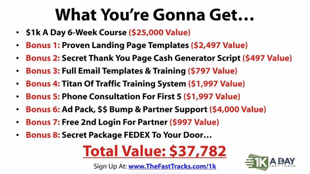 Bonuses - 1k a day fast track