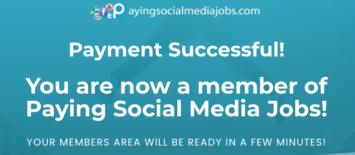 Payment successful payingSocialMediaJobs.com