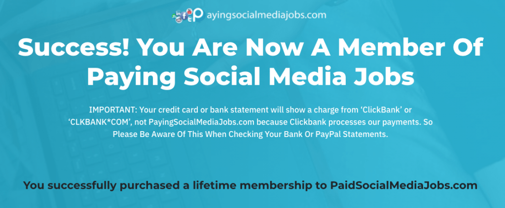 Confirmation of purchase payingsocialmediajobs.com