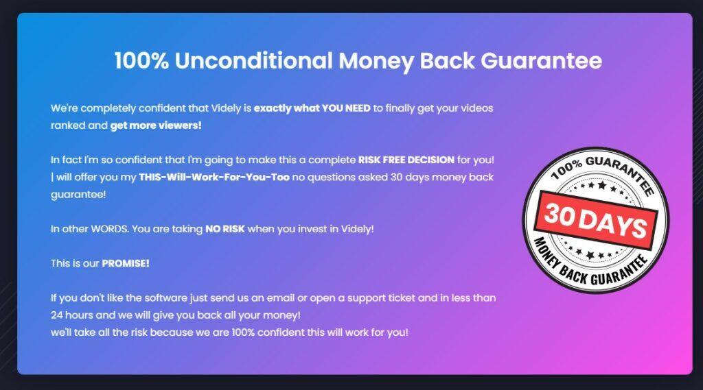 Money back offer Videly