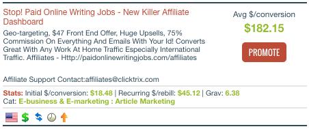 PaidOnlineWritingJobs.com Clickbank writing jobs online home
