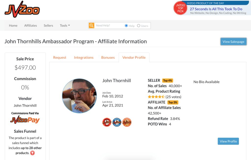JVZOO ambassador program listing john thornhill