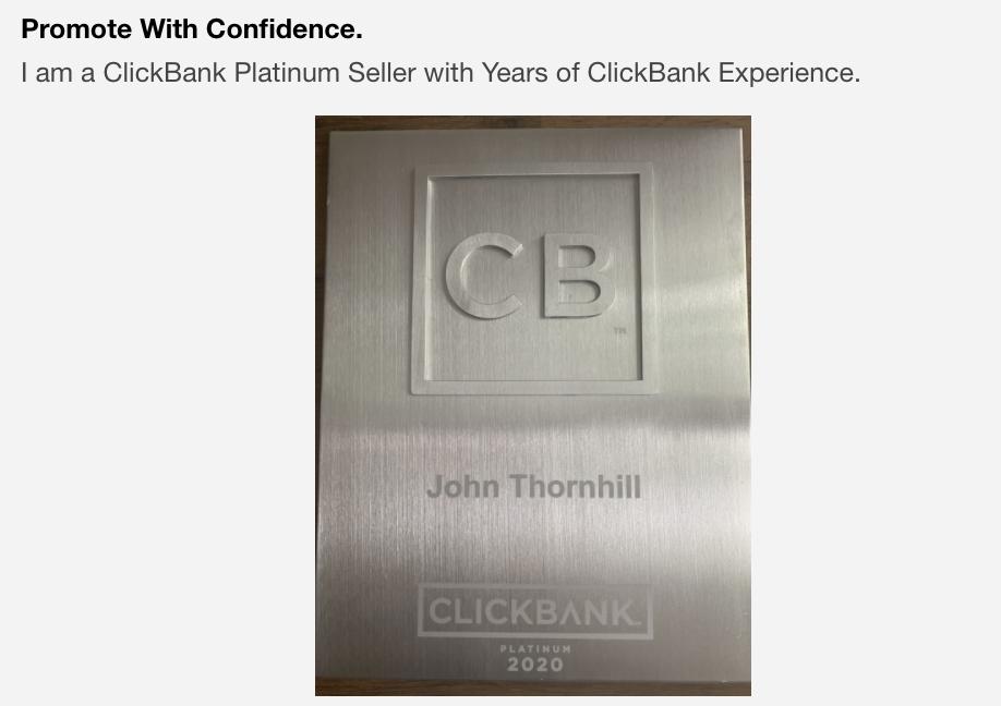 Clickbank stats John Thornhill ambassador program