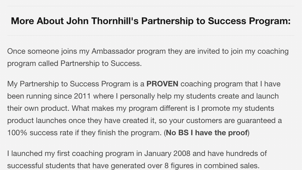 Partnership to success program john thornhill