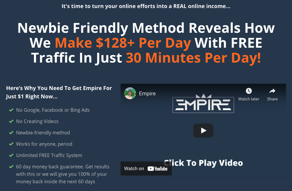 What is Empire Free Traffic system about?