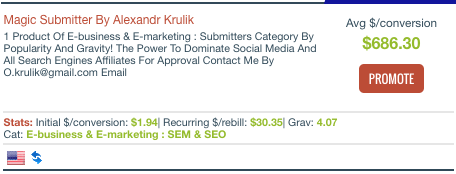 ClickBank Magic Submitter Listing
