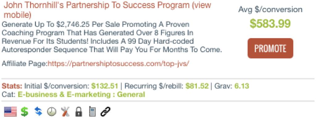 partnership to success grav score clickbank