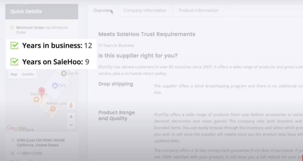 Quick Details of SaleHoo Supplier
