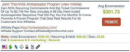 ClickBank ambassador program listing john thornhill