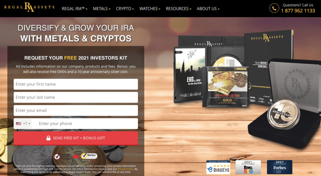 website of Regal Assets