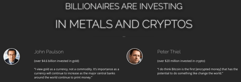 Billionaires are investing in metals and cryptos