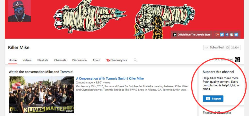 youtube page of killer mike