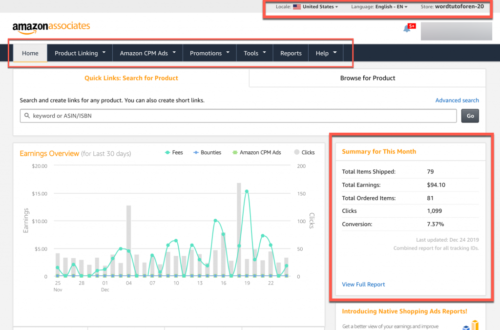 Here is how the Amazon Associate Program's dashboard looks like: