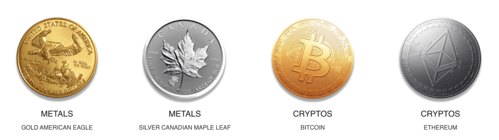 Assets - cryptos and metals