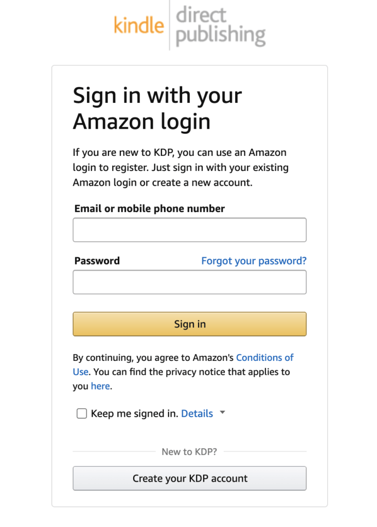 amazon associate sign up page