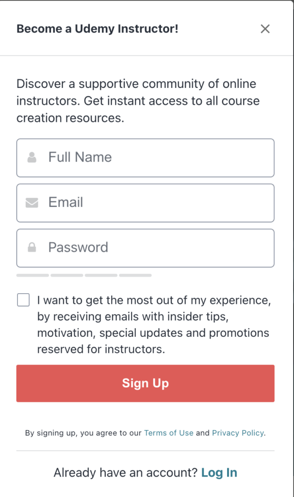 Udemy sign up page