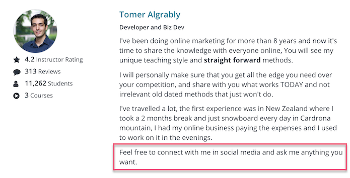 Be approachable on Udemy