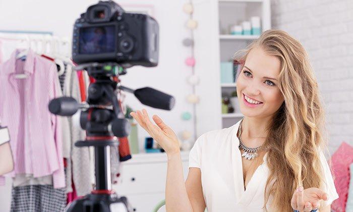 a girl vlogging on youtube