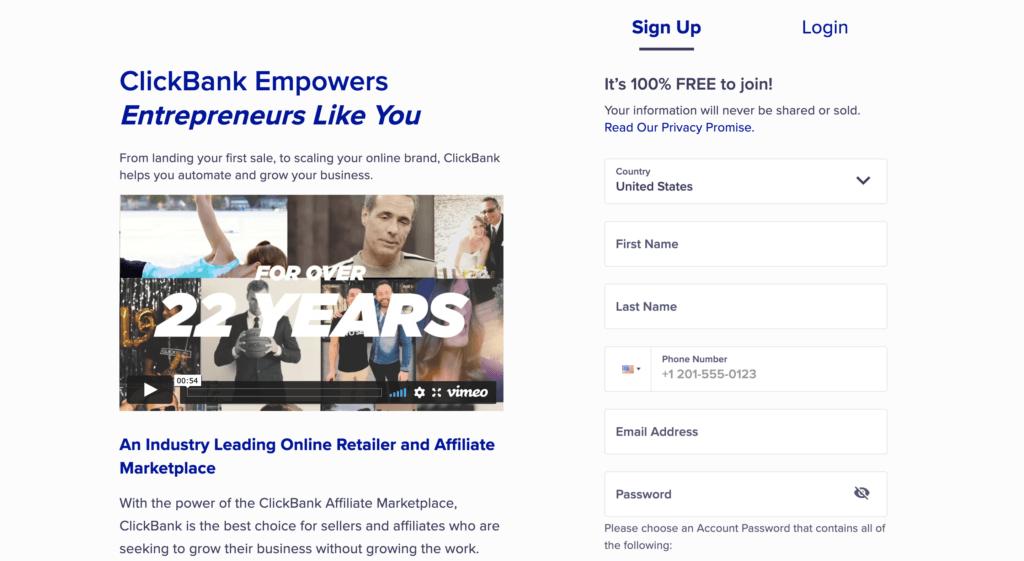 clickbank affiliate website
