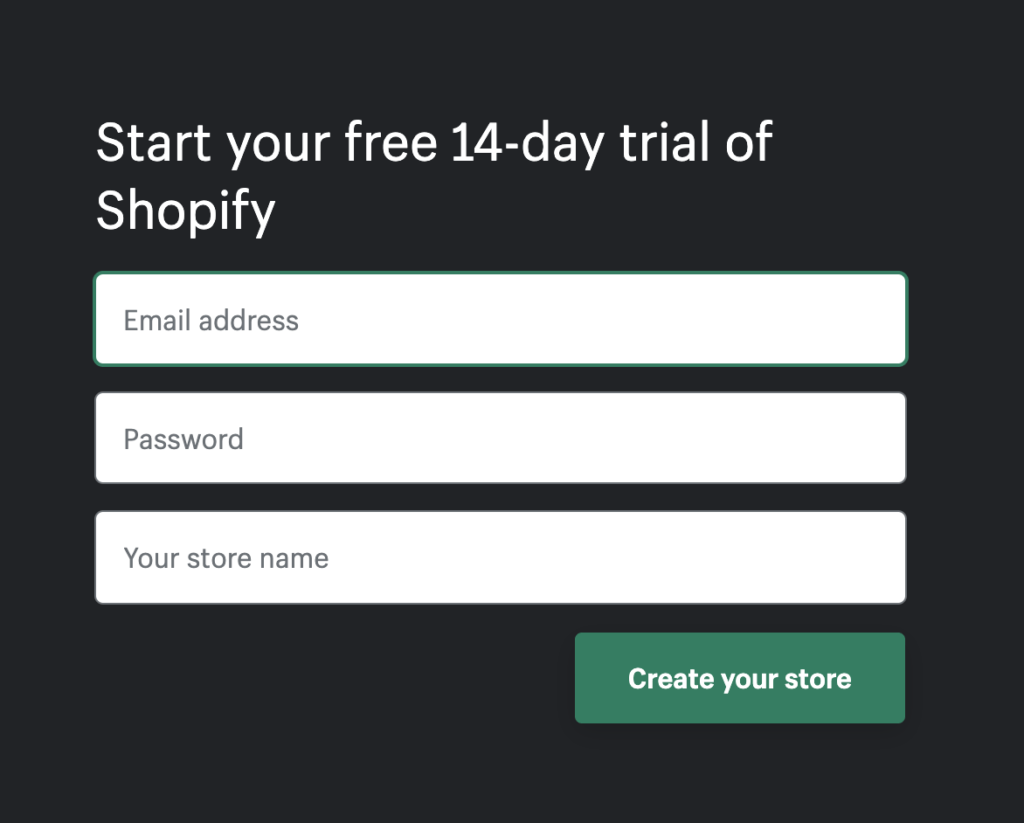 webpage of Shopify 14 day free trial